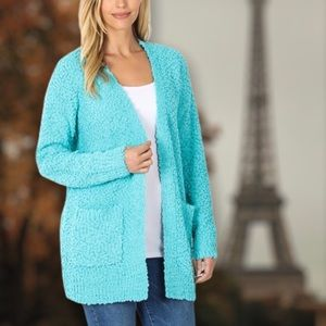 Mint Soft Texture Open Pocket Long Sleeve Cardigan